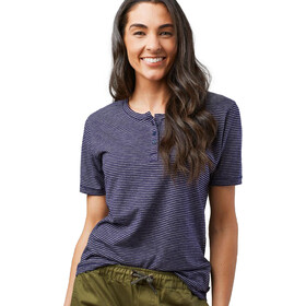United By Blue Mull Stripe Henley Mujer, navy